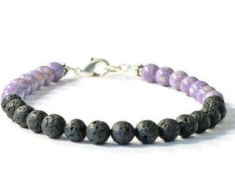 Lava Rock & Purple Riverstone Essential Oil Diffuser Bracelet, Aromatherapy Jewelry