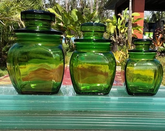 Retro Emerald Green Glass Canister Set