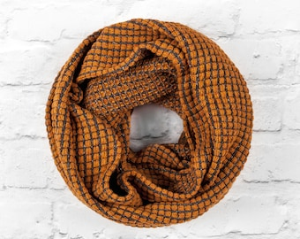 Brown Infinity Scarf, Wide Infinity Scarf, Circle Scarf, Loop Scarf, Wool Scarf, Blanket Scarf, Brown Wool Scarf