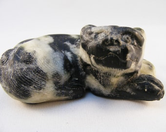 Vintage Chinese carving of a lemur in zebra marble