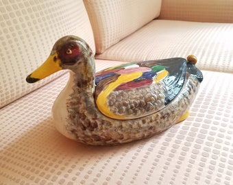 Large Hand Painted Duck Box 1970s Ceramic Container Figurine Statue Trinket Box bird collectables fowl decorative terrine container with lid