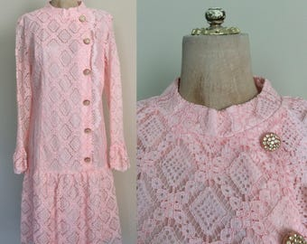 1970's Pink Lace Dropwaist Dress Retro Vintage Party Dress Size Medium Large by Maeberry Vintage