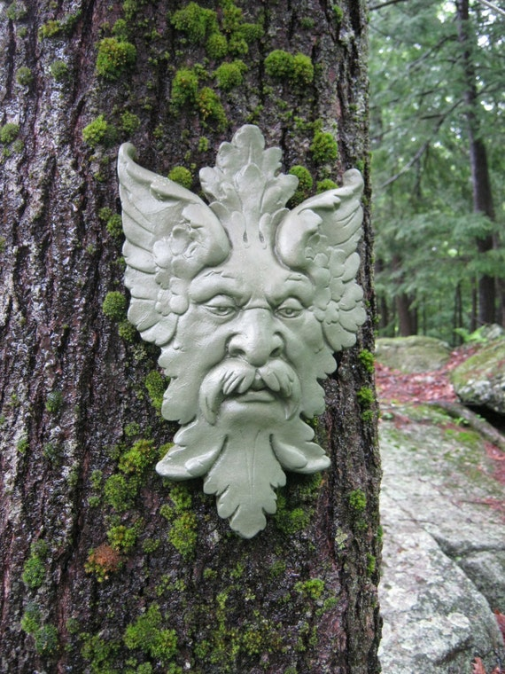 Green Man Garden Decor Hanging Face Concrete Garden Faces