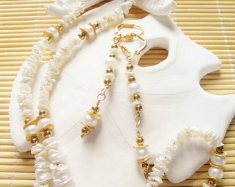 "17"" long Freshwater Keshi and potato pearl necklace and earring set"