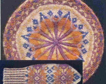 PDF Knitting Pattern Fair Isle collection/Tammy, mittens and gloves set/Vintage Knitting Pattern to make FairIsle Beret,MittensandGloves/B35