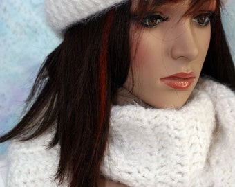 Soft and Fuzzy Hat and Scarf Set - White