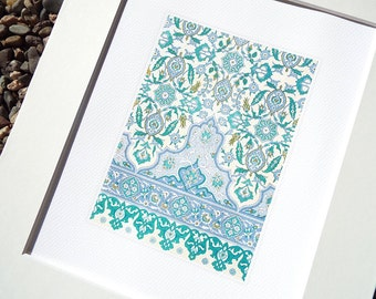 Moorish Tile Pattern 1 in Soft Blue Chambray, Pale Green & Cream Archival Quality Print