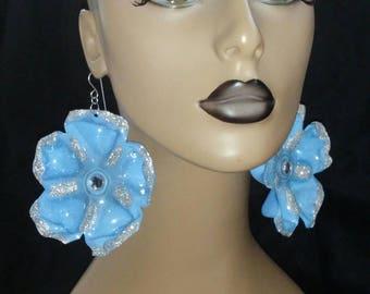 Uniquely Wacky Shape Baby Blue Glitter Flower Plastic Large Earrings, Big Earrings, Womens Earrings, Handmade Earrings, Womens Jewelry