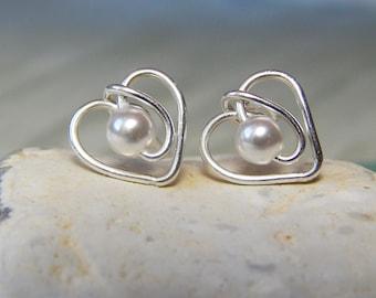Pearl Heart Stud Earrings, Sterling Silver Heart Earrings, Swarovski Pearl Earrings, Pearl Stud Earrings, June Birthstone,  Girlfriend Gift