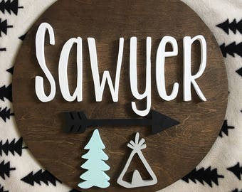 18 Inch Round Custom Name Sign |Nursery name Sign | Wood cut out | Name cut out | Nursery decor| Wood baby name | Wall hanging | Personal