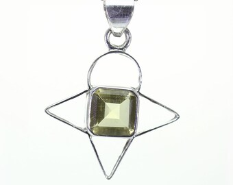 Lemon Quartz Pendant, 925 Sterling Silver, Unique only 1 piece available! color yellow, weight 7.3g, #25397