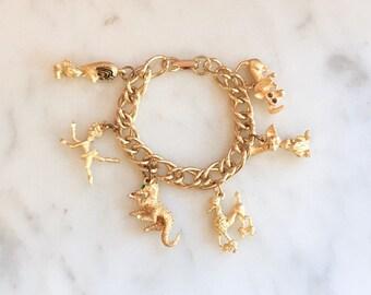 Vintage 50s Novelty Charm Bracelet Animal Charm Bracelet