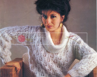 """Lady's Lace Sweater 30-40"""" Chunky Sirdar 6245 Vintage Knitting Pattern PDF instant download"""