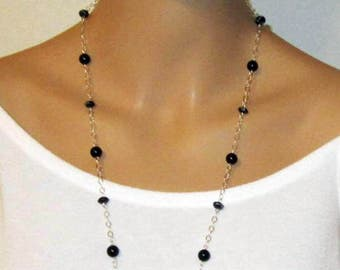 Black Onyx Necklace, Jewelry Set, Necklace Earrings, Black & Sterling Silver, Long Necklace, Matching Studs - AGOriginals - OOAK Original