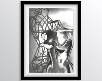 Fine Art Print Charcoal Drawing