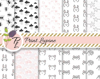 Scandinavian Black, Pink and White digital paper. Monochrome simple seamless backgrounds. Ants, hedgehog, raccoon, piggy, stars, clouds.