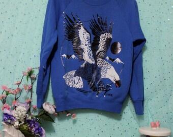 VINTAGE Iridescent Oil Slick Eagle Sweatshirt - Cobalt Blue Sweater Size Small