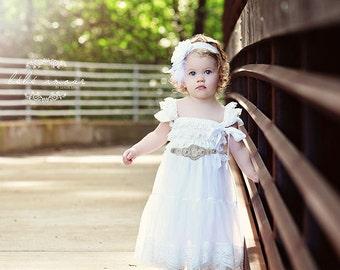Lace Dress, Flower Girl Dress, White Flower Girl Dress, Rustic Weddings, Wedding Dress for Flower Girls, Country Dress