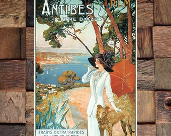 Antibes Woman Walking Dog Vintage Travel Ad, Vintage Art, Giclee Art Print, fine Art Reproduction
