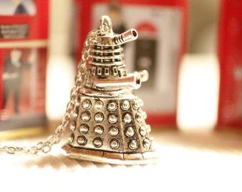 Dalek Charm Necklace, Exterminate, Dalek necklace, Dr Who necklace, Doctor Who, robot charm, Dr Who charm, SciFi, geeky jewelry, Geronimo