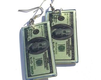 100 Dollar Bill Earrings, Hundred Dollar Earrings, Ben Franklin Earrings, Money Earrings, Dollar Earrings, Cash Earrings