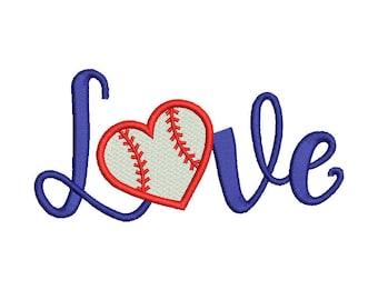 Baseball Love Embroidery Design - 4 SIZES