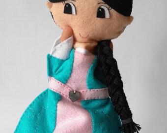 Princess doll, hand puppet, felt doll, handmade doll, rag doll, doll for girls
