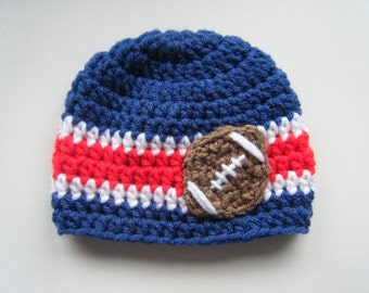 PATTERN:  Football Beanie, Sports Team College NFL colors, easy crochet PDF, InStAnT DoWnLoAd, Sizes newborn to Adult, Permission to Sell
