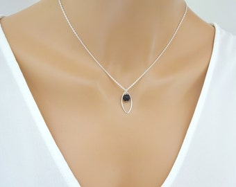 Lava Diffuser Necklace, Dainty Sterling silver necklace, Minimalist Lava stone jewelry, Bridesmaid Necklace, Essential Oil Aromatherapy
