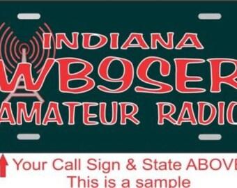 Amateur / Ham Radio Call sign Novelty License Plate Black/Red