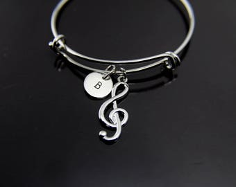 Music Gift Orchestras Gift Music Melody Treble Clef Bracelet Silver Music Note Charm Personalized Bangle Initial Charm Initial Bracelet