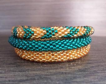 Teal and Golden Chevron Crocheted Beaded Bracelet Set, Handmade in Nepal, Seed Beads, Bohemian