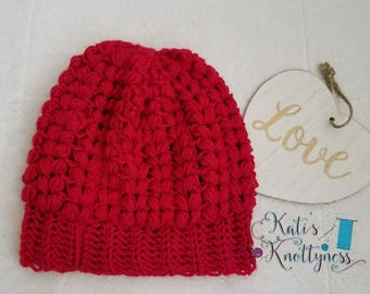 Red Puffy 'hearts' Adult beanie //READY to SHIP//Free US shipping