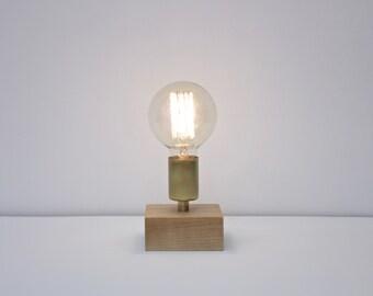 bare bulb lighting. Rustic Modern Table Lamp // Industrial Brass And Wood Desk Exposed Edison Bare Bulb Lighting
