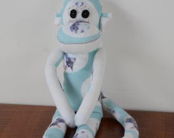 Blue bunny print sock monkey, sock monkey, bunny sock monkey