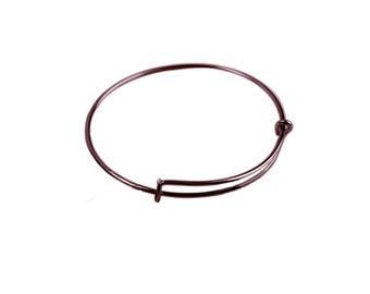 65 mm, Antique Copper,  Expandable Wire Bracelet Bangle, Qty:1