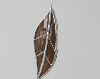 Brown Chestnut Leaf - Upcycled Stained Glass Suncatcher