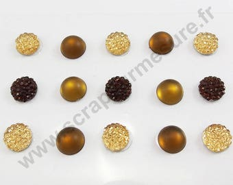 Rhinestones round stickers - Brown Frost - 10mm - 15 rhinestone x