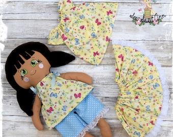 Cloth Doll - Fabric Doll - Hispanic - Rag Doll - Heirloom Doll - Handmade - Doll Set - Dress up Doll