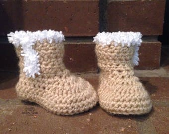 Baby Boots with Fuzzy Trim