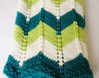 Winter Baby Blanket, Hand Knit Striped Zigzag Blue Green Cream, Boy Girl Toddler Newborn Gift, Thick Warm Chunky Knit Stroller Ripple Afghan