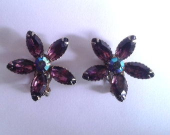 Vintage 1950's Purple Faux Amethyst Flower Clip On Earrings Mid Century Ladylike