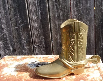 Vintage Brass Cowboy Boot with Spur