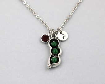 3 peas in a pod necklace, sterling silver filled, initial necklace, OPTIONAL birthstone or pearl, pea pod jewelry, gift for mom, mother day