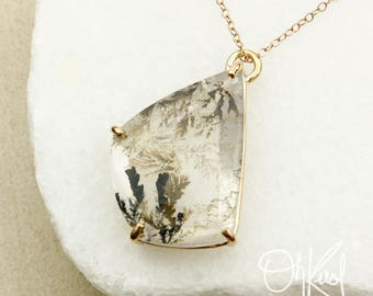 Pear Cut Dendrite Quartz Necklace - Tree Branch Quartz Pendant - Dendritic Quartz