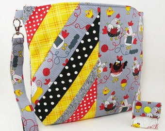 """Knitting Project Bag - Medium Zipper """"Knitting Chickens"""" (Wedge Style):  with detachable handle! (""""9.5 x 11.5"""" x 3"""" base) (C.5)"""