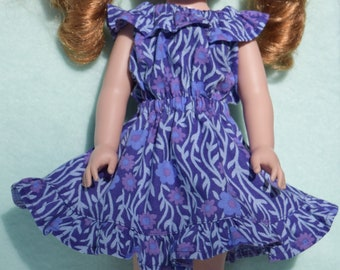 Cute purple peasant style dress in a blue and purple flower print fits 14.5 inch dolls