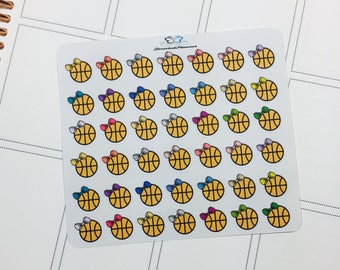 Basketball with Bow Mini Planner Stickers | Basketball Planner Stickers | Planner Stickers