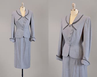 40s Suit // 1940's Milgrim Tailored Two-Tone Grey Wool Suit w/ Asymmetrical Buttons // Small