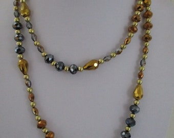 Gold Crystal Necklace, Faceted Crystal Necklace, Gold Flapper Necklace, Art Deco Style Necklace
